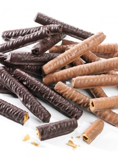 Schlotfeger in Zartbitter- und Vollmilch-Schokolade