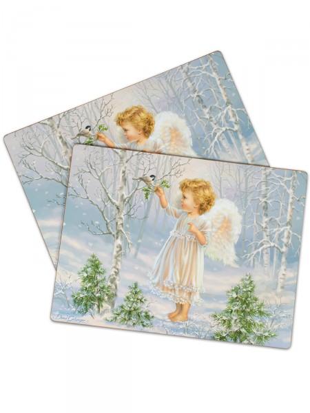 """Platzset-Duo Kork """"Engel im Schnee"""""""