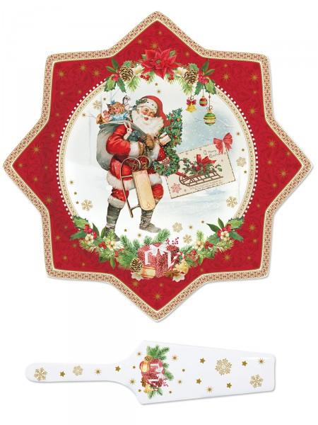 """Tortenplatte """"Santa mit Schlitten"""""""
