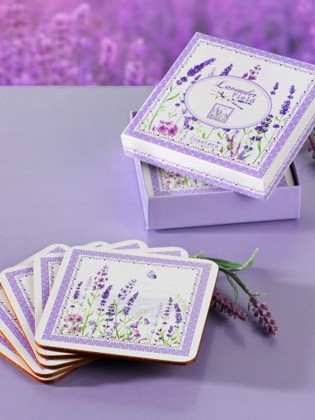 """Korkuntersetzer, 6-er """"Lavendel"""""""