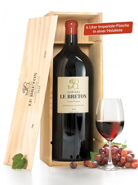 """""""Château Le Breton"""" IMPÉRIALE 6,0 l in Holzkiste, Cuvee Premium Bordeaux Supérieur 2018"""