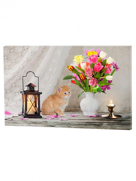"LED-Bild ""Katze & Tulpe"""